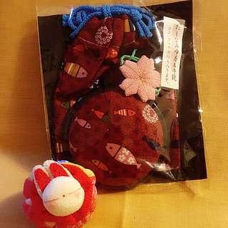 日本和布梅紅色魚兒圓鏡連唇膏袋100%日本純手工制作