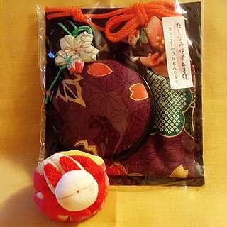 日本和布紫金色落櫻圓鏡連唇膏袋100%日本純手工制作