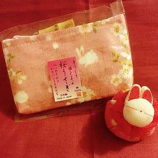 日本和布粉色櫻花兔兔連竹子扣散紙包100%日本純手工制作