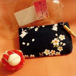 日本和布深藍櫻花兔兔連竹子扣散紙包100%日本純手工制作