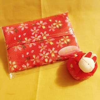 日本和布漸變紅金線花花紙巾包100%日本純手工制作