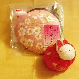 日本和布粉紅櫻花啪扣散紙包連兔兔掛繩100%日本純手工制作