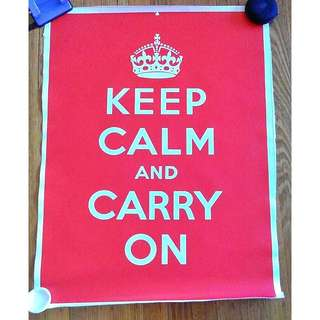 "NEW ""Keep Calm And Carry On"" Canvas Poster"