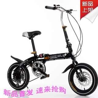 包邮14寸16寸折叠自行车男女式山地车儿童车学生单车变速车双碟刹
