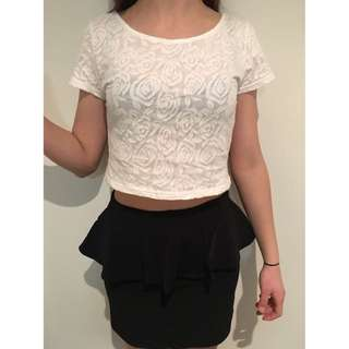 rose crop top and peplum skirt