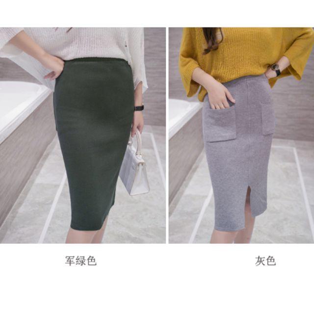 韓版修身純色包臀窄裙 口袋裝飾中長裙 及膝裙 開叉 兩穿 高腰 T58519#