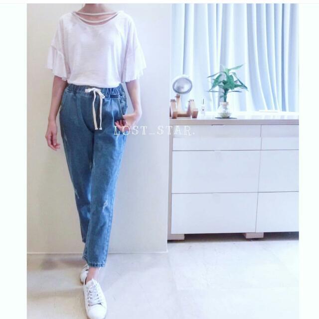 韓國 荷葉袖 短T