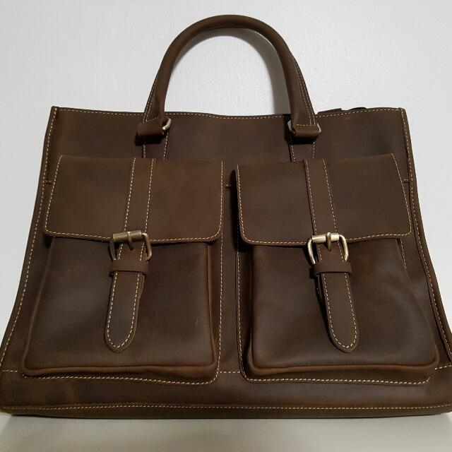 Brown Full Genuine Cow Leather Satchel Bag