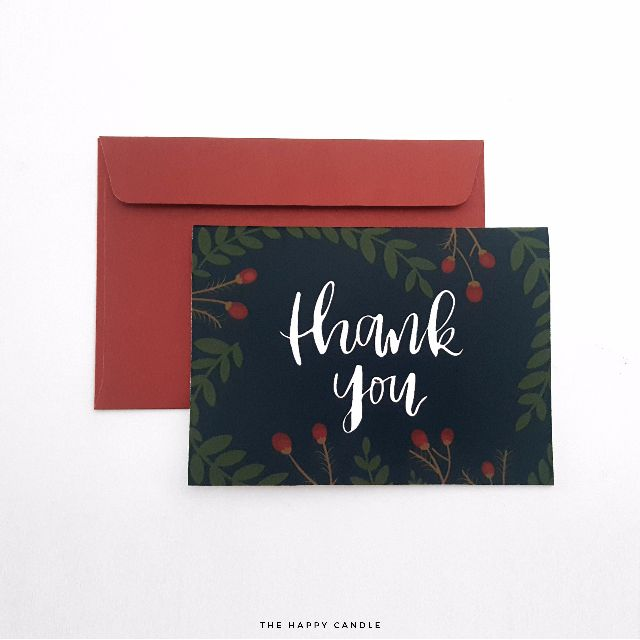 Brush Lettering Thank You Card (Berries)