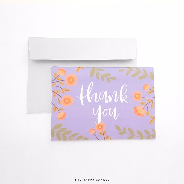 Brush Lettering Thank You Card (Floral)