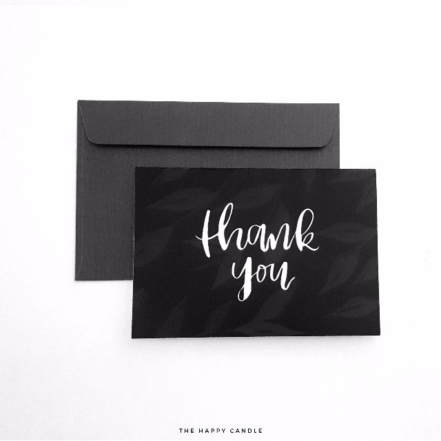 Brush Lettering Thank You Card (Leaves)
