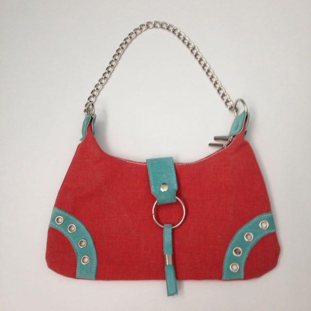 Coral And Blue Handbag