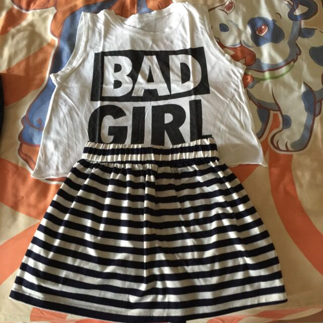 Crop top and mini skirt
