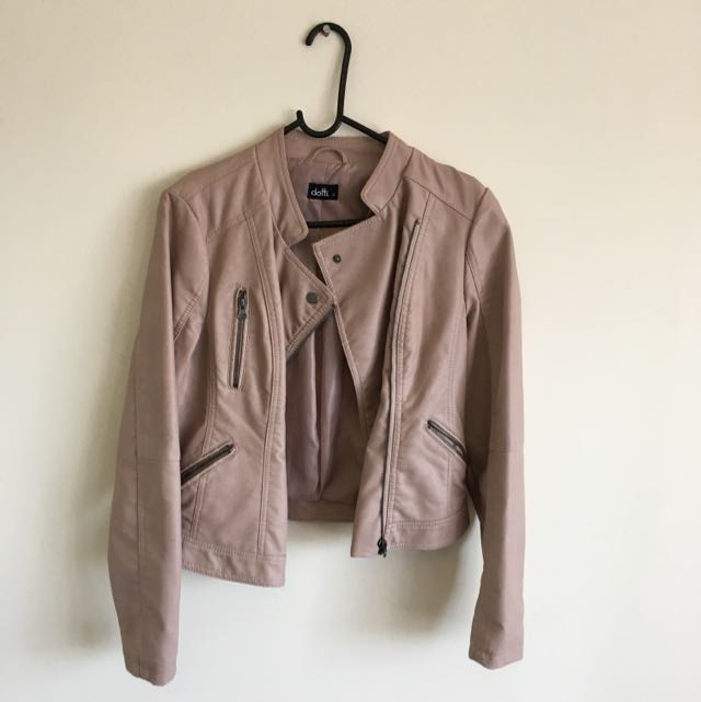 Dotti Size 10 Dusty Rose Nude Color Fake Leather Jacket