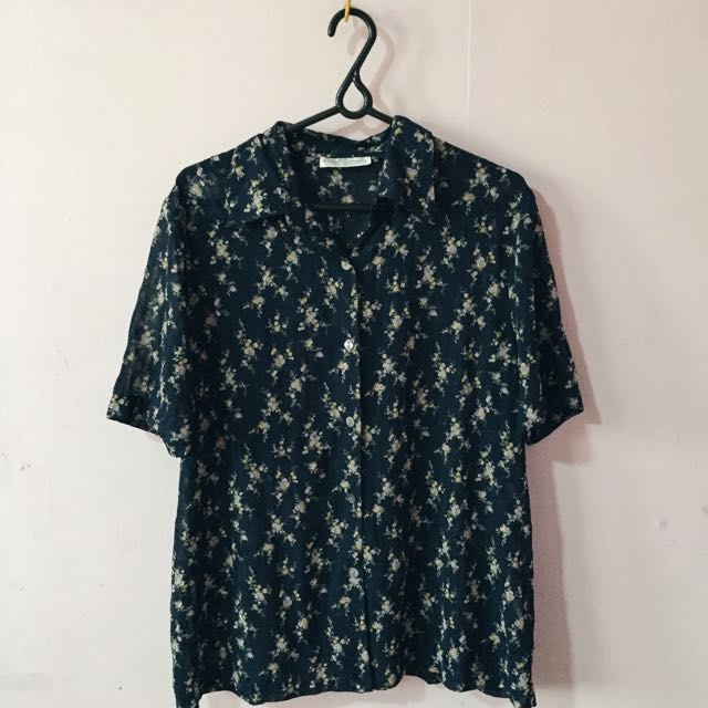 Floral Sheer Polo Shirt