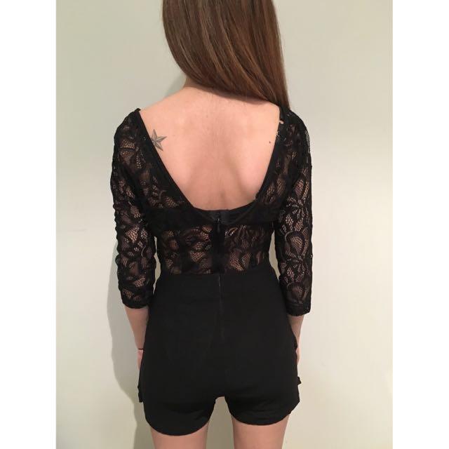 lace backless jumpsuit