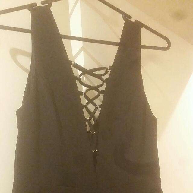 Lace Up Jumpsuit-black Size 10