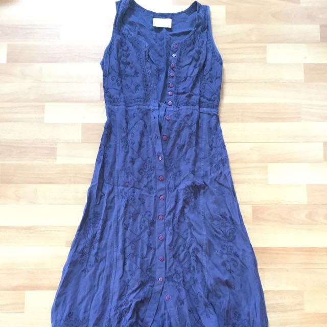 Navy Embroidered Vintage Dress