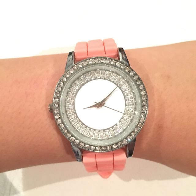 Peach Bedazzled Watch