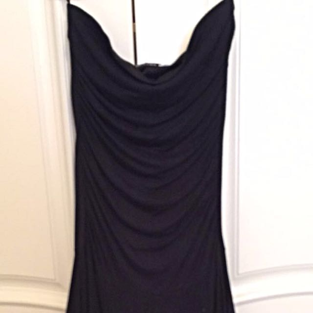 Plain Black Strapless Dress. Large