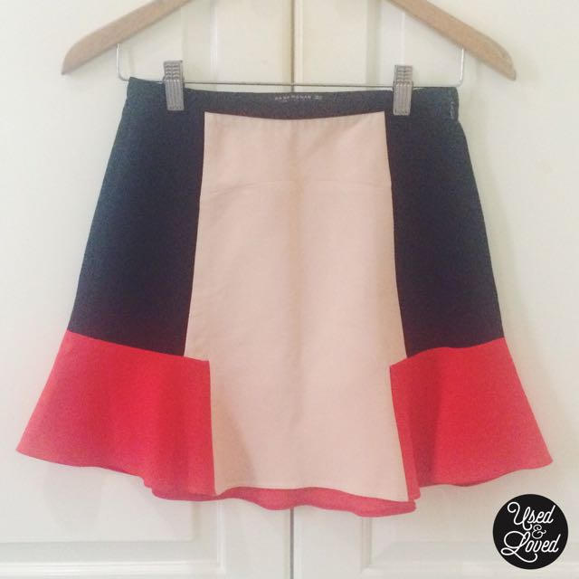 Zara - Red Black Tricolor Frill Skirt