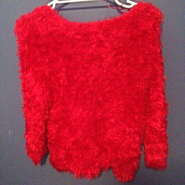 Red Fluffy Jumper