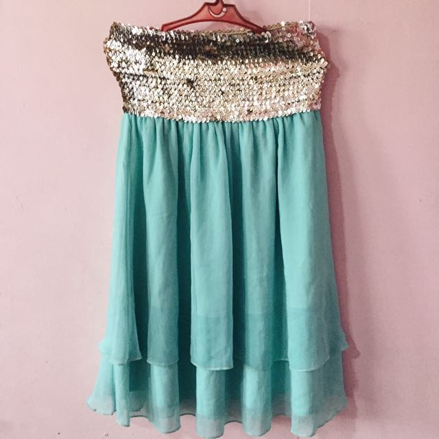 Sequined Teal Party Dress