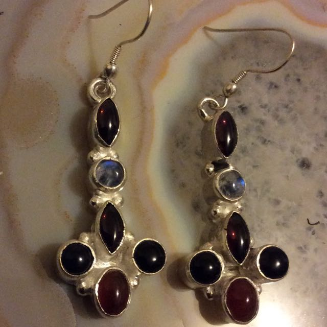 Sterling Silver Earrings featuring Garnet,Rainbow Moonstone and Onyx
