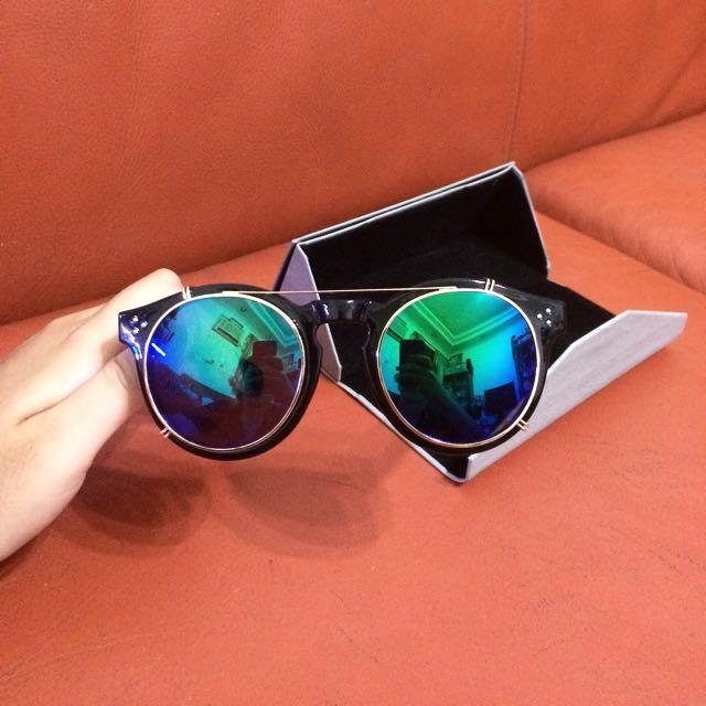 Sun glasses 太陽眼鏡 墨鏡可拆 藍綠色