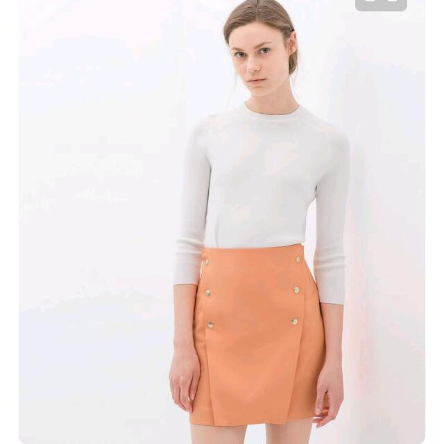 Zara ; Orange Flared Skirt With Buttons