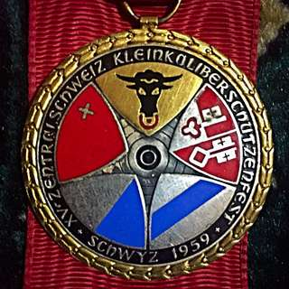1959 Switzerland Vintage Shooting Medal, Schwyz! Beautiful 45mm Large! Winner's Award! High Relief & Eye-Appealing! Rare & Unique! Inter-Cantonal Compete! Shield Coats of Arms!
