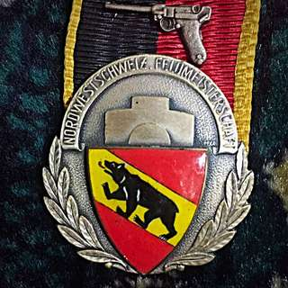 1950's Switzerland Vintage Shooting Medal, North & West Schweiz - Bern! Beautiful 35x45mm Large! Winner's Award! High Relief & Eye-Appealing! Rare & Unique! Inter-Cantonal Compete! Shield Coat of Arms!