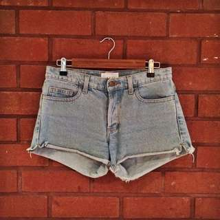 AMERICAN APPAREL Light Wash Denim Shorts