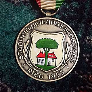 1953 Switzerland Vintage Inauguration Shooting Medal, Reid! Beautiful 35x45mm Large! Winner's Award! High Relief & Eye-Appealing! Rare & Unique! Inter-Cantonal Compete! Shield Coat of Arms!