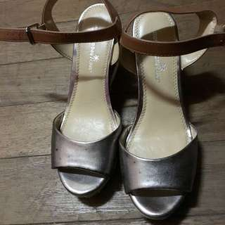 Payless Shoes: Montego Silver Wedge Sandals (Size 8)