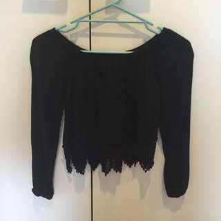 Off The Shoulder Long Sleeve Black Top