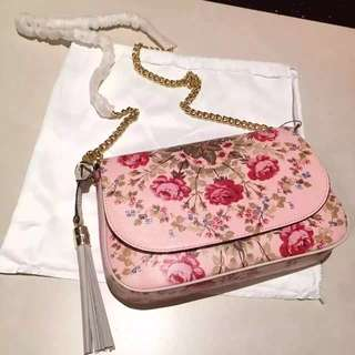 Gucci flower handbag with golden chain No.336752 Leather women bag famous brand Crossbody bags