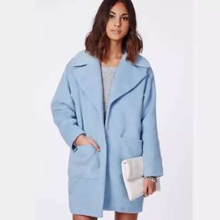 Missguided Light Blue Oversized Boyfriend Coat Size 6