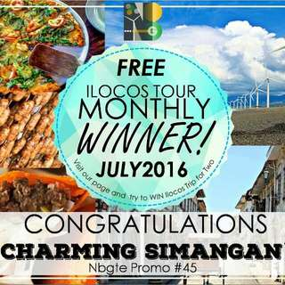 Monthly Winner - July Free Ilocos Tour Please Visit Our Page For More Info Like And Share To Get A Chance To Win Free Ilocos Tour For 2