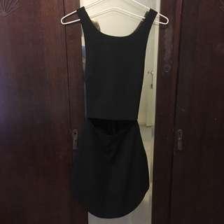 Criss Cross Back Stomach Slit Dress