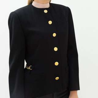 Celine Black Jacket With Gold Chain Detail And Gold Buttons Size 38