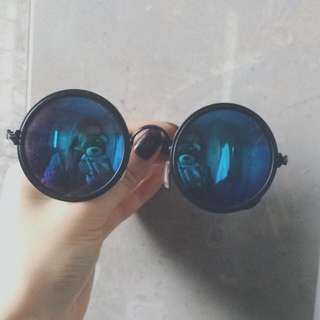 Round Mirrored Sunglasses. Chrome, Reflective Blue Lens