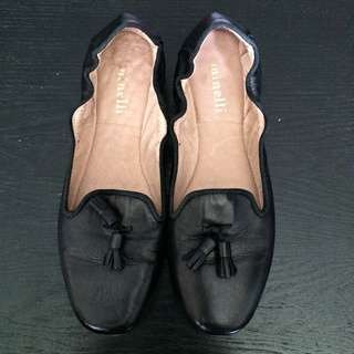 Minelli Genuine Leather Black Tassel Flats Size 37