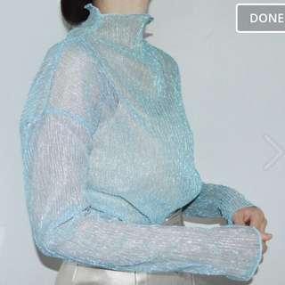 閃亮水藍透膚上衣
