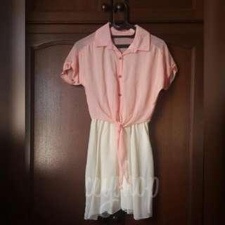 Peach Broken White Dress