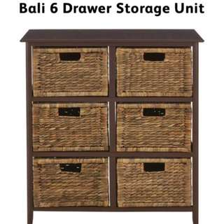 Bali 6 Drawer Storage Unit