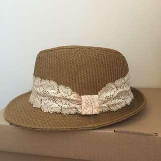 (保留中)側邊蕾絲蝴蝶結紳士草帽