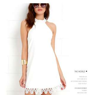 新款 歐美性感露背蕾絲拼接 掛脖式拉鏈連衣裙 掛脖洋裝 露背洋裝 T58615#