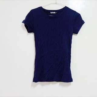 深藍羅紋T Shirt