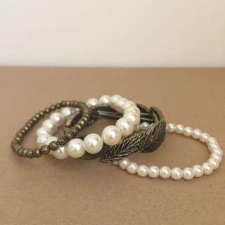 (保留中)古銅葉子造型珍珠手鍊